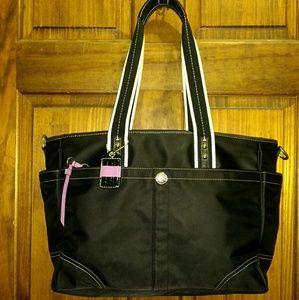 Coach Hamptons Black Satin X-Large Baby Bag F13331